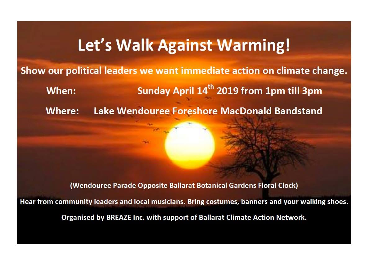 Walk Against Warming - Sunday 14 April 2019
