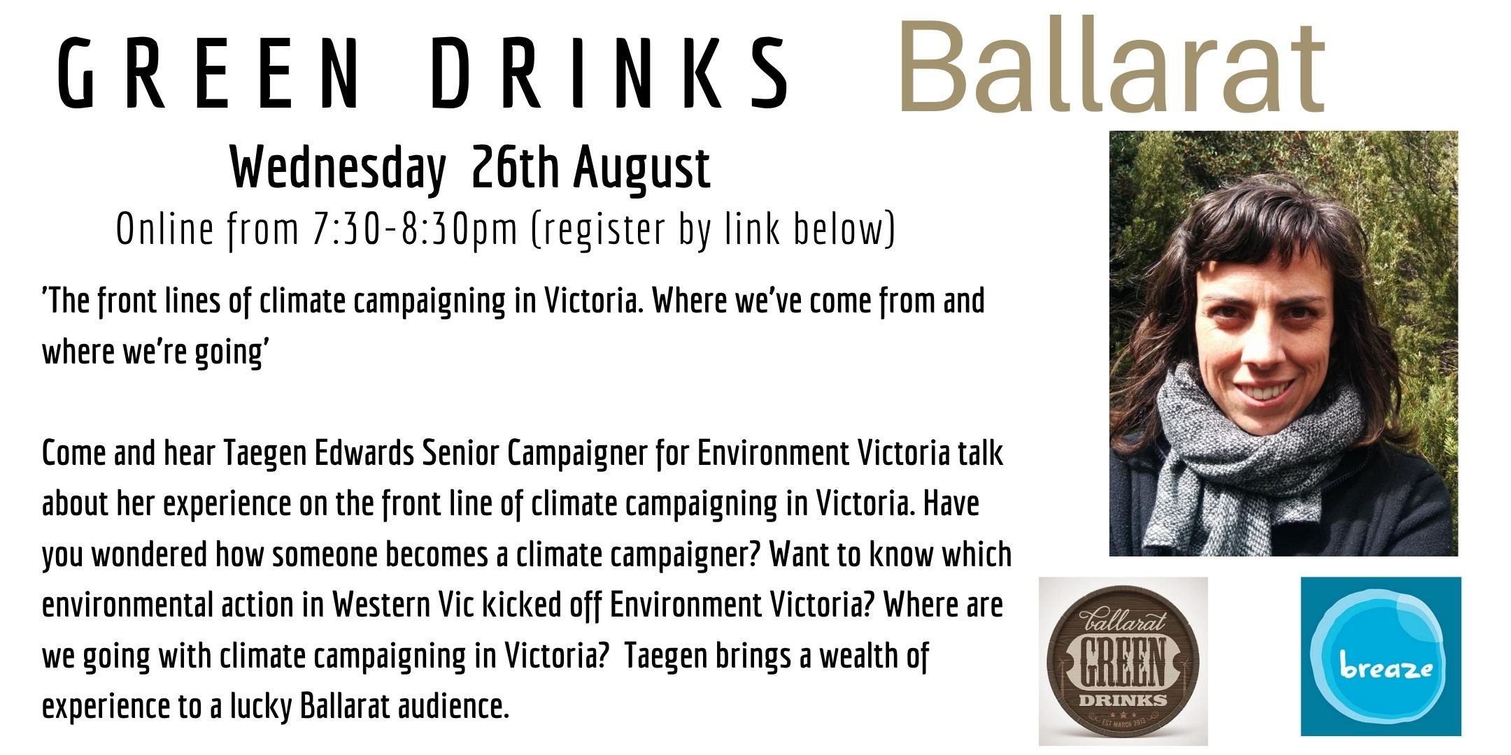 Ballarat Green Drinks on zoom: 26 August 7:30pm